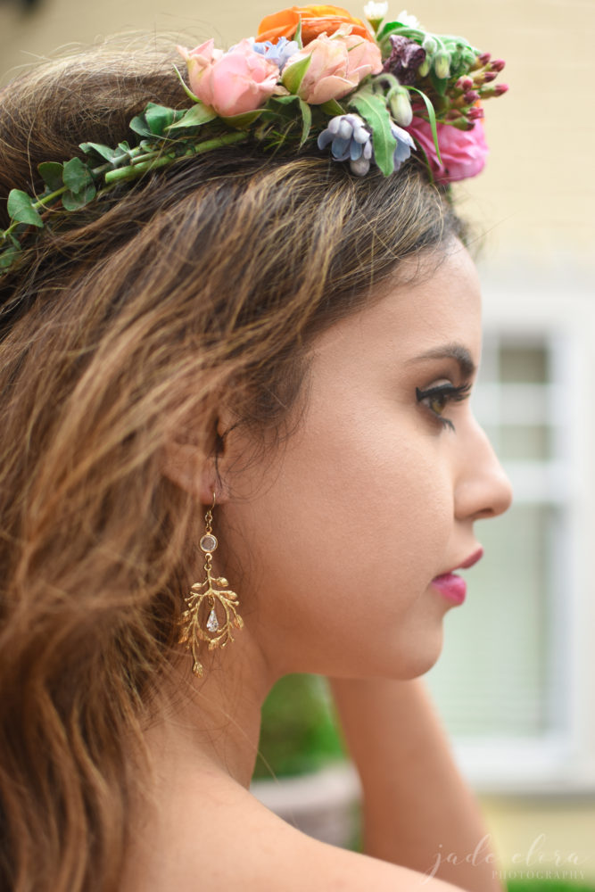 Colorful Floral Crown and Bridal Makeup - © Jade Elora Photography