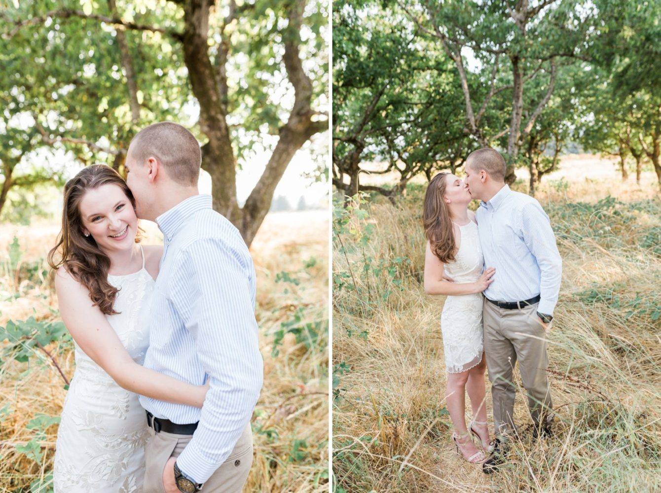 Candid moments between Portland couple during their engagement photo session