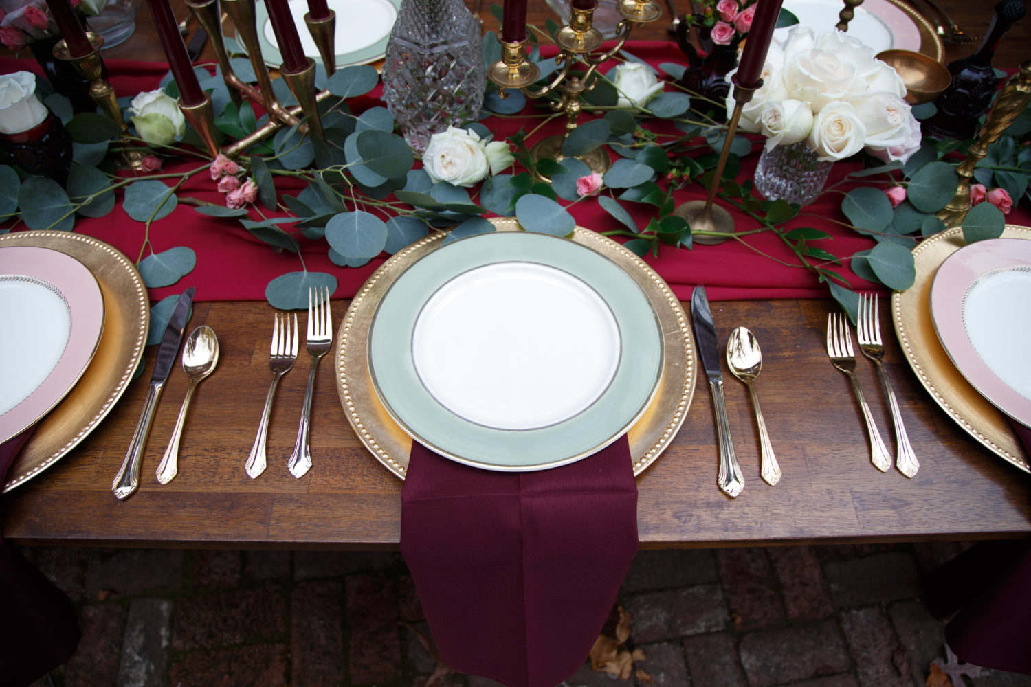 burgundy, dusty pink, green and gold tablescape