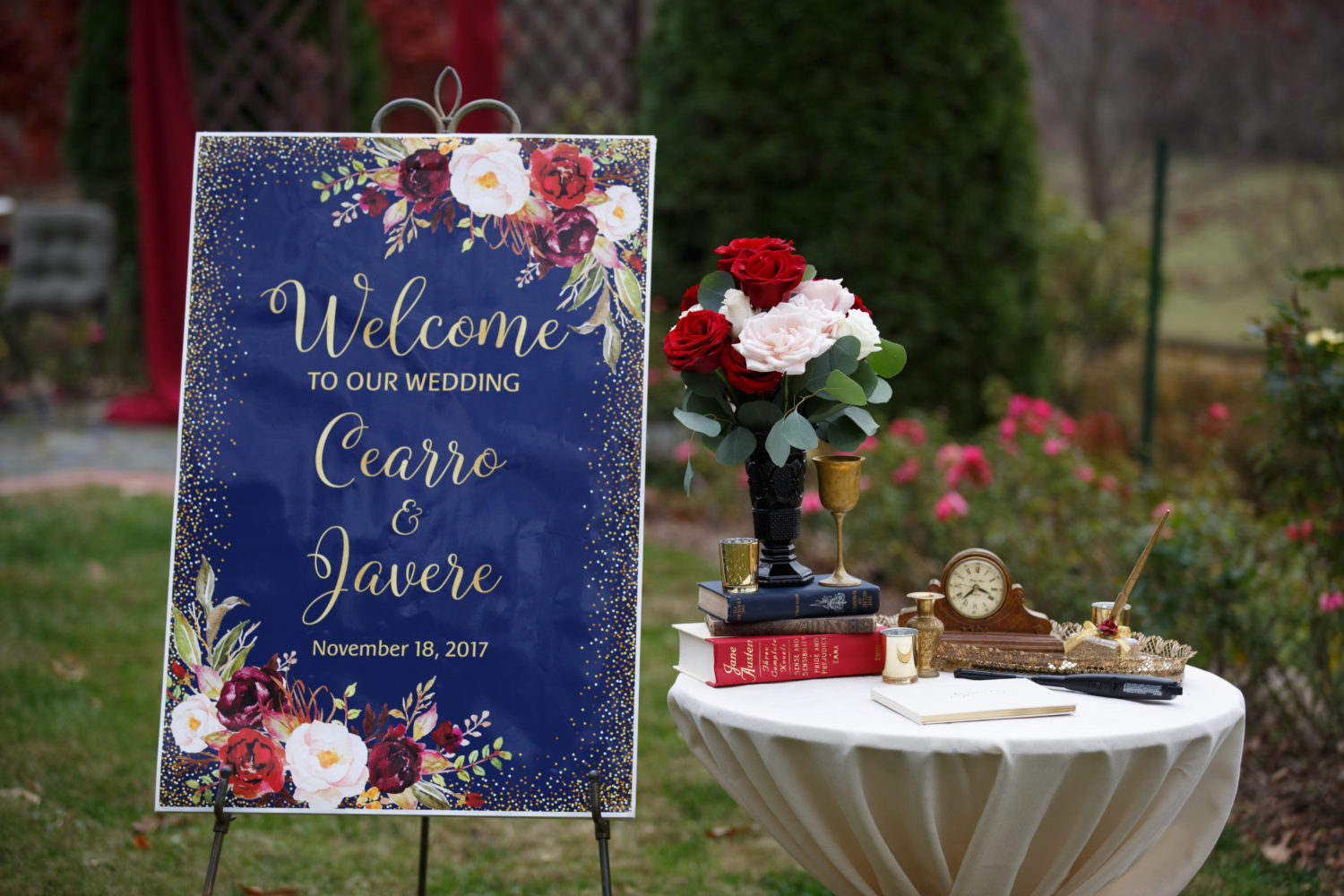 Custom welcome sign at a memorable micro wedding at Storybrook Farm by Cable photography