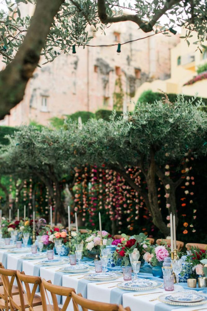 hanging-flowers-olive-trees-wedding-reception-dinner-tables