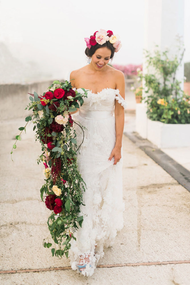 bride-in-marchesa-wedding-dress-with-long-cascading-bouquet-pink-peonies-roses-and-flower-head-wreath